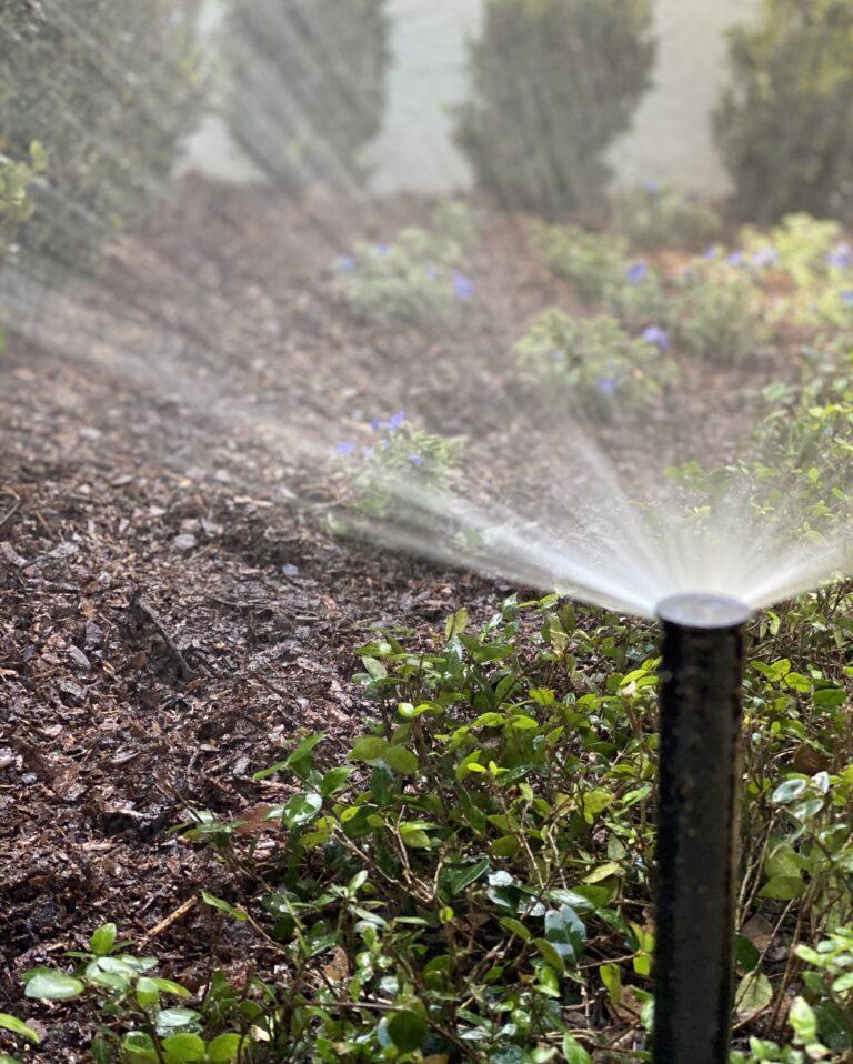 Close Up Irrigation System   Landscape Improvements
