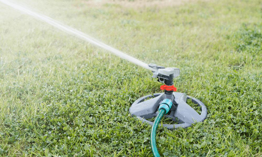 Watering the lawn using a sprinkler system | Landscape Improvements