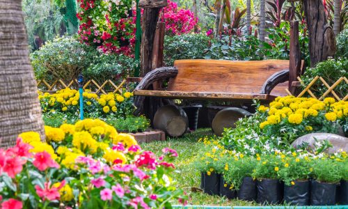 Wooden Bench In A Garden With Flowers