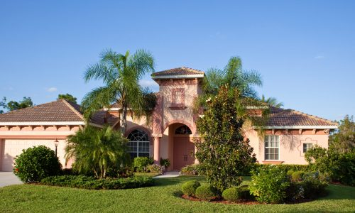 Florida Home With Bushes and Palm Trees